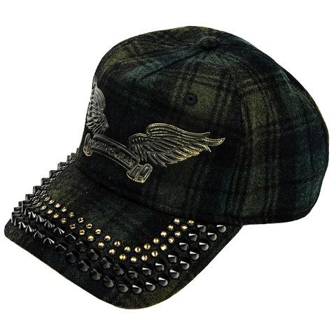 Бейсболка Robin's Jean GREEN CAP WITH BLACK DIAMOND SW AND SPIKES