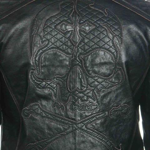 Куртка кожаная Affliction Highway Man Jacket 110OW067 приближенный вид черепа на спине