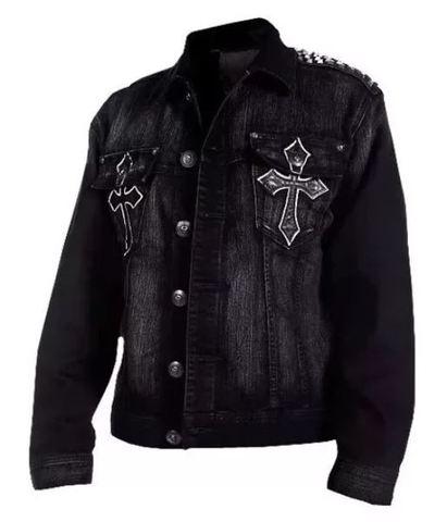 Afflction | Джинсовая мужская куртка Punk Rock A888 перед