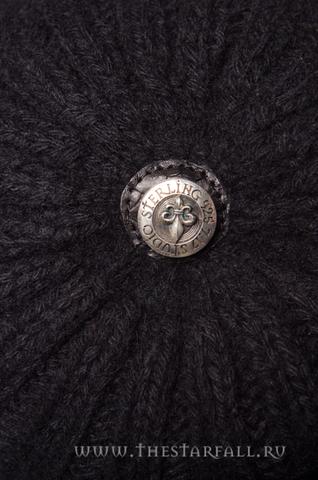 Шапка из пуха соболя Black War от 7.17 Studio Luxury с лилией из кожи питона сверху