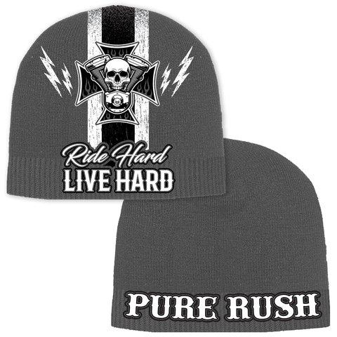 Шапка RIDE HARD LIVE HARD BEANIE Grey Rush Couture