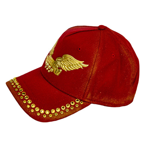 Бейсболка Robin's Jean GOLD DUST CAP IN RED WITH GOLD WINGS AND CRYSTALS