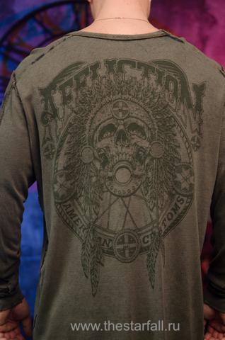 Affliction | Пуловер мужской двусторонний BULL RUN DUSK A16863 принт на спине череп индейца