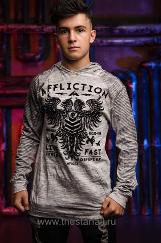 Affliction | Мужская футболка лонгслив с капюшоном Affliction VALUE FREEDOM DUSK P/O HOOD A19743 перед