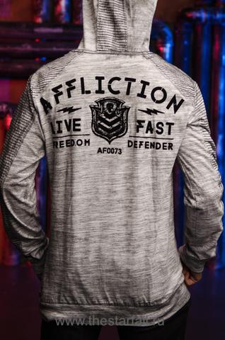 Affliction | Мужская футболка лонгслив с капюшоном Affliction VALUE FREEDOM DUSK P/O HOOD A19743 спина