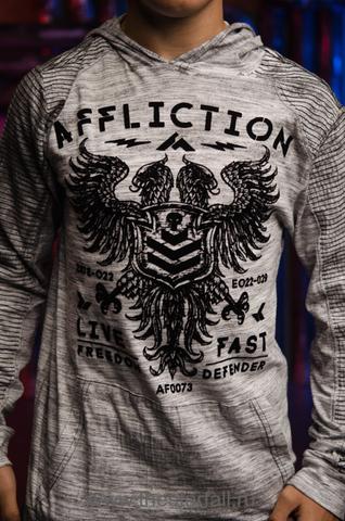Affliction | Мужская футболка лонгслив с капюшоном Affliction VALUE FREEDOM DUSK P/O HOOD A19743 принт спереди двуглавый орёл