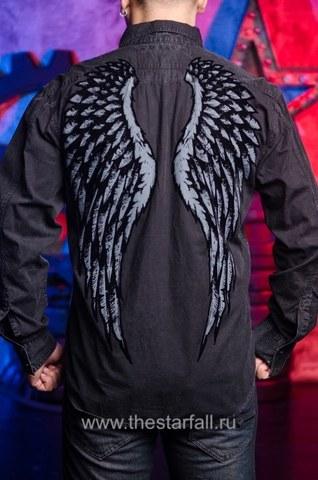 Черная мужская рубашка Affliction  Affliction с крыльями