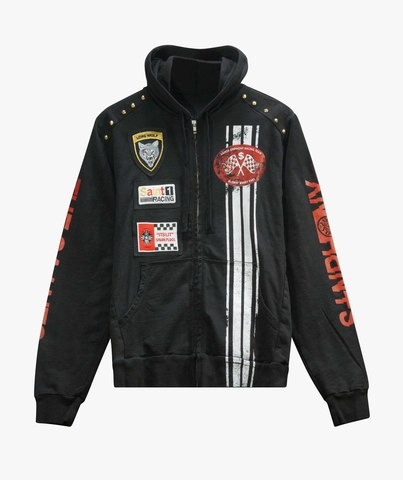 Худи The Saints Sinphony EMBROIDERED RACER FRENCH TERRY HOODED SWEATSHIRT BLACK