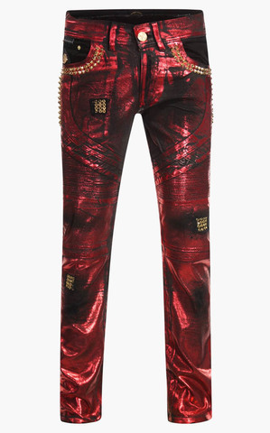Джинсы The Saints Sinphony RED FOIL BIKER JEANS GOLD TRIM
