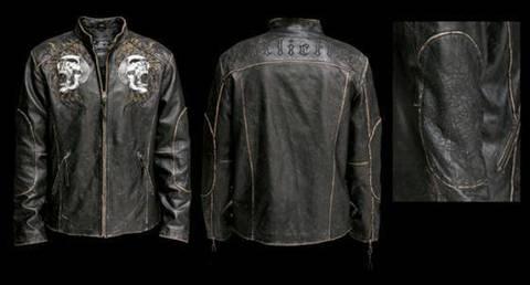 Affliction   Куртка мужская кожаная Shredded Leather Jacket A443 перед и спина