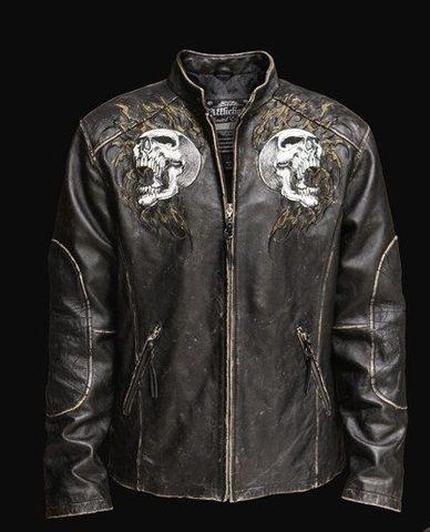 Affliction   Куртка мужская кожаная Shredded Leather Jacket A443 перед