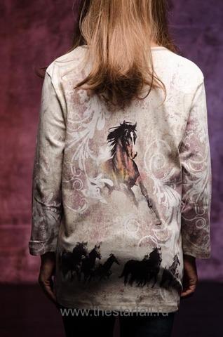 Женский пуловер Running Horses Cactus Bay. Made in USA спина