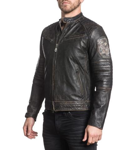 Куртка кожаная Affliction  Ghost Rider 110OW208 вид с левого плеча