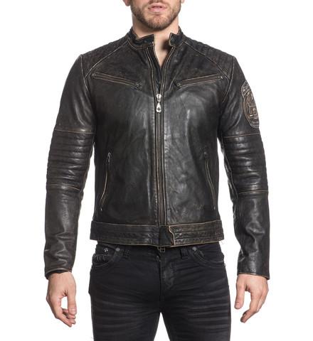 Куртка кожаная Affliction  Ghost Rider 110OW208 вид спереди