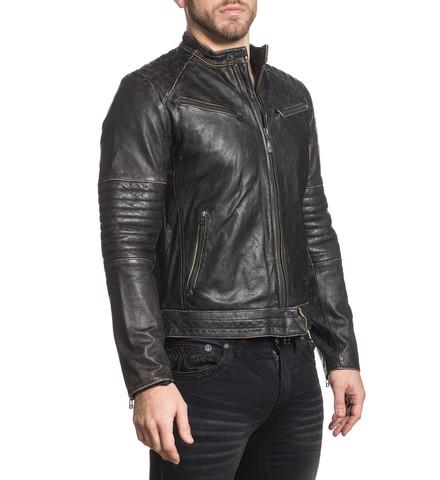 Куртка кожаная Affliction  Ghost Rider 110OW208 вид с правого плеча