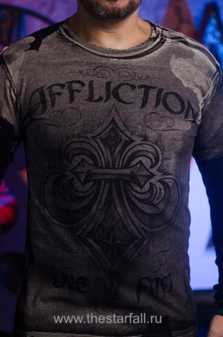 Affliction | Мужская футболка лонгслив A226744 принт спереди геральдическая лилия