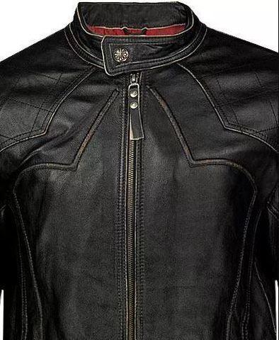 Affliction   Куртка мужская кожаная Silent Black A1212BLK молния