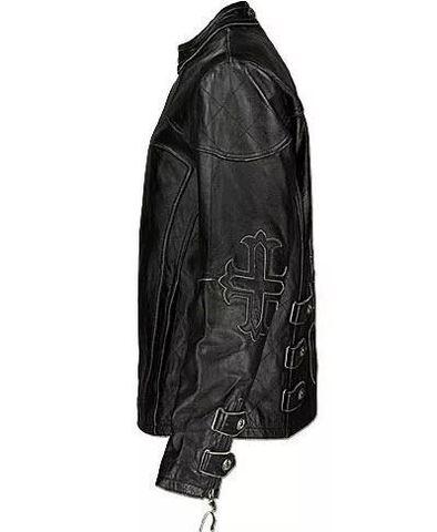 Affliction   Куртка мужская кожаная Silent Black A1212BLK левый бок