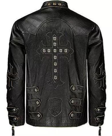 Affliction   Куртка мужская кожаная Silent Black A1212BLK спина