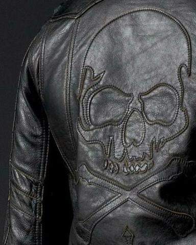Affliction   Куртка мужская кожаная ASSAULT Leather Jacket аппликация на спине