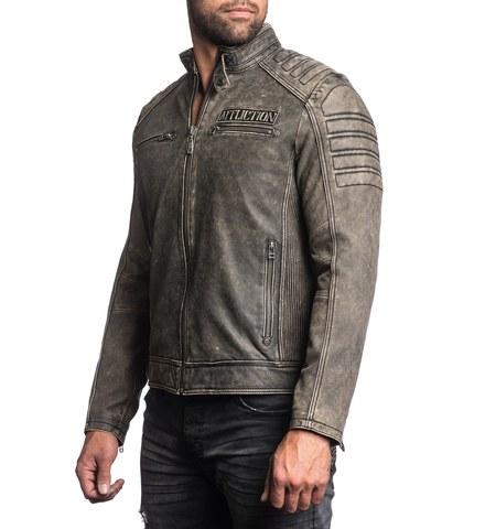 Куртка кожаная Affliction Iron Head Leather Jacket 110OW216 вид сбоку