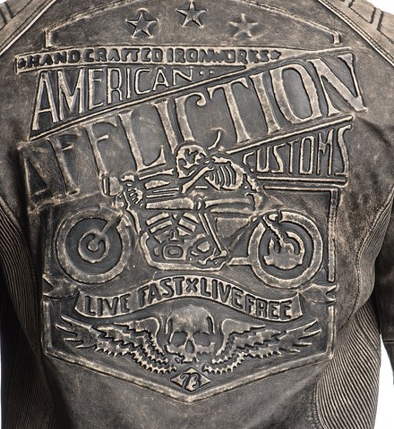 Куртка кожаная Affliction Iron Head Leather Jacket 110OW216 принт на спине