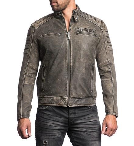 Куртка кожаная Affliction Iron Head Leather Jacket 110OW216 перед