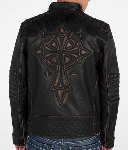 Affliction   Куртка мужская кожаная Black Premium Ghost Rider Jacket 110OW025B спина