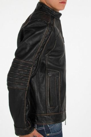 Affliction   Куртка мужская кожаная Black Premium Ghost Rider Jacket 110OW025B правый бок