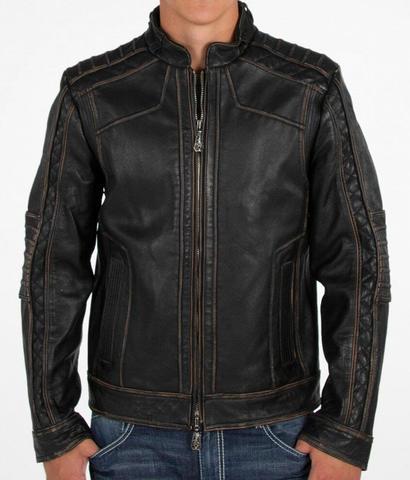 Affliction   Куртка мужская кожаная Black Premium Ghost Rider Jacket 110OW025B перед