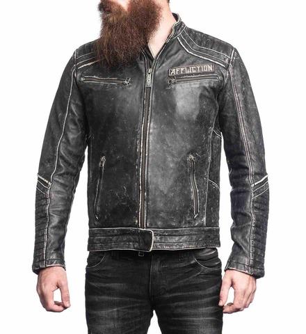Куртка кожаная Affliction Renegade Riders Leather Jacket Black 110OW204 вид спереди