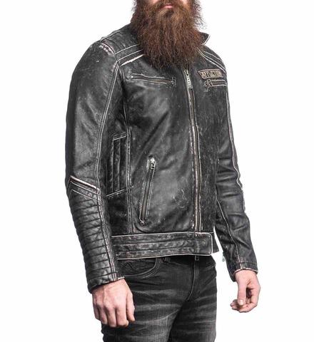 Куртка кожаная Affliction Renegade Riders Leather Jacket Black 110OW204 вид справа