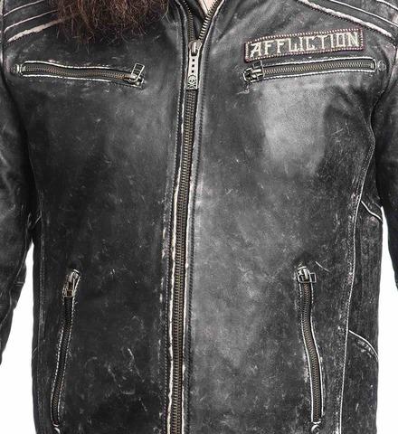 Куртка кожаная Affliction Renegade Riders Leather Jacket Black 110OW204 передние карманы