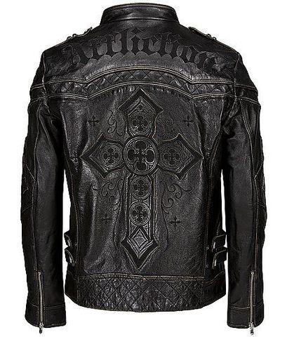 Affliction | Куртка кожаная мужская Gear Up 10OW463B спина