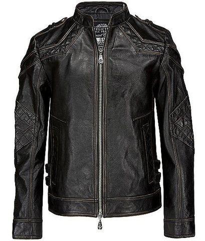 Affliction | Куртка кожаная мужская Gear Up 10OW463B перед