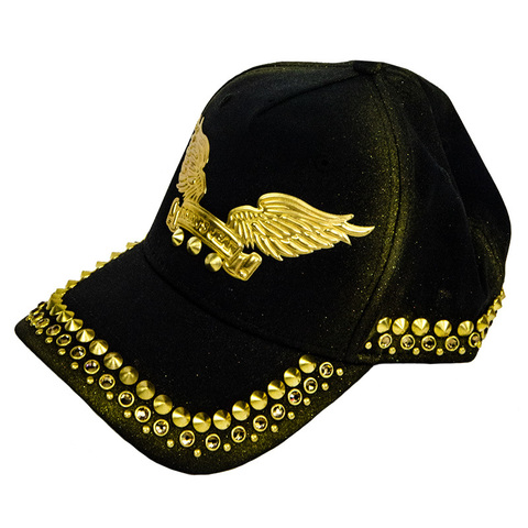Бейсболка Robin's Jean GOLD DUST CAP IN BLACK WITH GOLD WINGS AND CRYSTALS