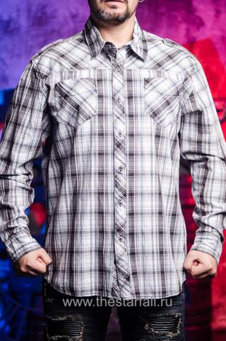 Серая мужская рубашка  Affliction из США в клетку