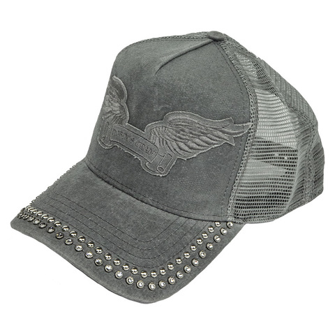 Бейсболка Robin's Jean TRUCKER CAP IN GREY ON GREY WITH CRYSTALS