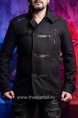 Affliction | Пальто мужское BASSLINE 110OW070 перед на модели
