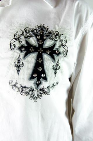 Рубашка Rebel Spirit LSW141718 принт спереди крест стразы и клепки