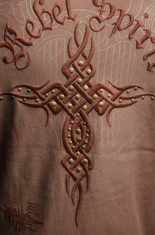 Rebel Spirit   Худи мужское FTZH11889 вышивка на спине крест