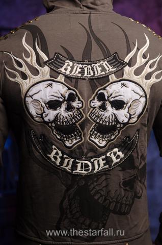 Rebel Spirit | Худи мужское FTZH212 вышивка на спине огонь и черепа