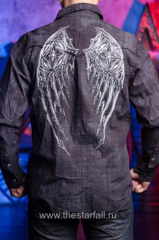 Черная мужская рубашка Affliction с крыльями