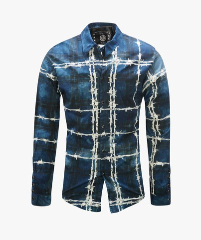 Рубашка The Saints Sinphony BARBED WIRE BUTTON UP BLUE-WHITE TS3438