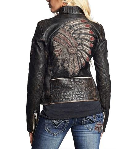Affliction   Куртка женская кожаная Divergent 111OW037 спина