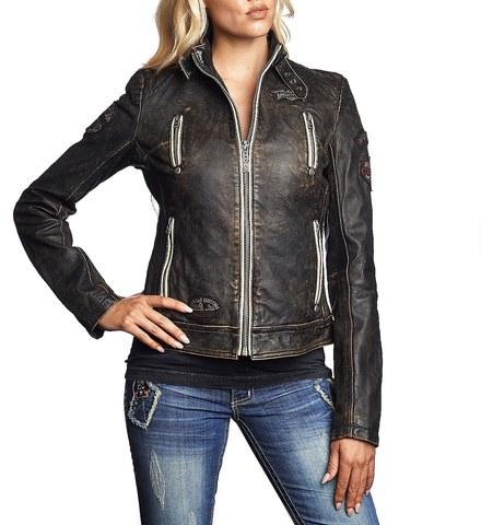 Affliction   Куртка женская кожаная Divergent 111OW037 перед