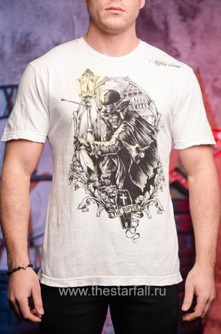 """Белая мужская футболка THE RIPPER Affliction """"Джек Потрошитель"""""""