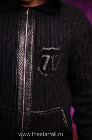 Мужской кардиган с капюшоном от 7.17 Studio Luxury молния и эмблема