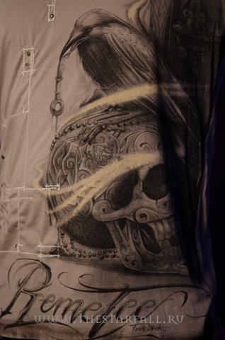 Футболка Remetee by Affliction RM186 принт спереди череп и ворон