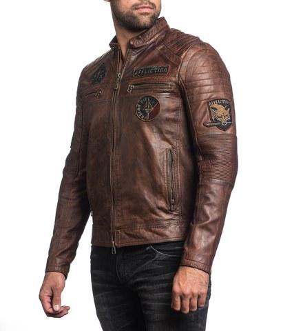 Куртка кожаная Affliction FATAL HOUR 110OW230 из калифорнии левый бок